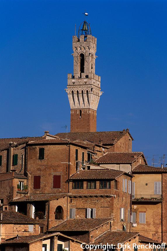 Torre del Mangia, Siena, Toskana, Italien, Unesco-Weltkulturerbe