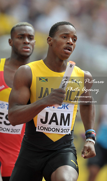 Jamari Rose (JAM) in the mens 4 x 400m relay. IAAF world athletics championships. London Olympic stadium. Queen Elizabeth Olympic park. Stratford. London. UK. 12/08/2017. ~ MANDATORY CREDIT Garry Bowden/SIPPA - NO UNAUTHORISED USE - +44 7837 394578