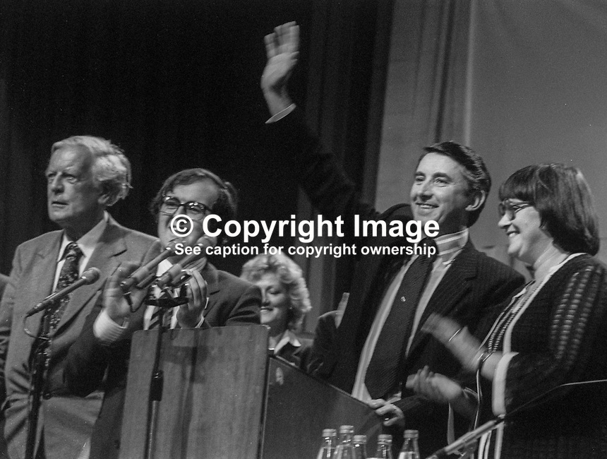 Liberal Party leader David Steel acknowledges the applause after speaking at annual conference in Harrogate, September, 1982. Also in the photo are Judith Steel, David Steel&rsquo;s wife, Joe Grimmond, former leader, and MP Alan Beith. 198209000152a<br /><br />Copyright Image from Victor Patterson, 54 Dorchester Park, <br />Belfast, UK, BT9 6RJ<br /><br />t1: +44 28 9066 1296 (from Rep of Ireland 048 9066 1296)<br />t2: +44 28 9002 2446 (from Rep of Ireland 048 9002 2446)<br />m: +44 7802 353836<br /><br />victorpatterson@me.com<br />www.victorpatterson.com<br /><br />Please see my Terms and Conditions of Use at VICTORPATTERSON.COM. It is IMPORTANT that you familiarise yourself with them.<br /><br />Images used on the Internet must be visibly watermarked i.e. &copy;VICTORPATTERSON.COM within the body of the image and copyright metadata must not be deleted. Images used on the Internet have a size restriction of 4kbs and are chargeable at the then current NUJ rates.<br /><br />This image is only available for the use of the download recipient i.e. television station, newspaper, magazine, book publisher, etc, and must not be passed on to any third party. It is also downloaded on condition that each and every usage is notified within 7 days to victorpatterson@me.com<br /><br />The right of Victor Patterson to be identified as the author is asserted in accordance with The Copyright Designs And Patents Act (1988).