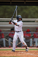 GCL Yankees East Jose Villa (16) bats during a Gulf Coast League game against the GCL Phillies West on July 26, 2019 at the New York Yankees Minor League Complex in Tampa, Florida.  (Mike Janes/Four Seam Images)