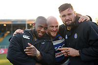 Beno Obano, Matt Garvey and Elliott Stooke of Bath Rugby. Aviva Premiership match, between Bath Rugby and Sale Sharks on February 24, 2018 at the Recreation Ground in Bath, England. Photo by: Patrick Khachfe / Onside Images