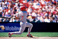 SAN FRANCISCO, CA - Darren Lewis of the Cincinnati Reds bats during a game against the San Francisco Giants at Candlestick Park in San Francisco, California on July 27, 1995. Photo by Brad Mangin