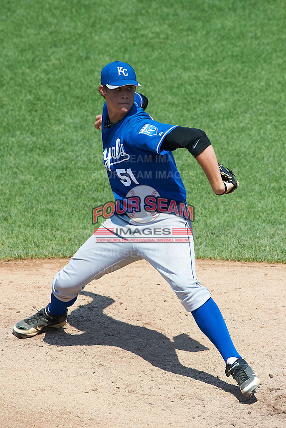 Zachary Houston #51 of Poplarville High School in Poplarville, Mississippi playing for the Kansas City Royals scout team during the East Coast Pro Showcase at Alliance Bank Stadium on August 3, 2012 in Syracuse, New York.  (Mike Janes/Four Seam Images)