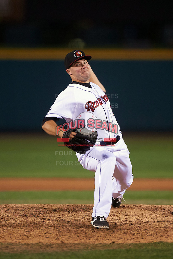 Rochester Red Wings pitcher Caleb Thielbar (25) delivers a pitch during a game against the Toledo Mudhens on May 12, 2015 at Frontier Field in Rochester, New York.  Toledo defeated Rochester 8-0.  (Mike Janes/Four Seam Images)