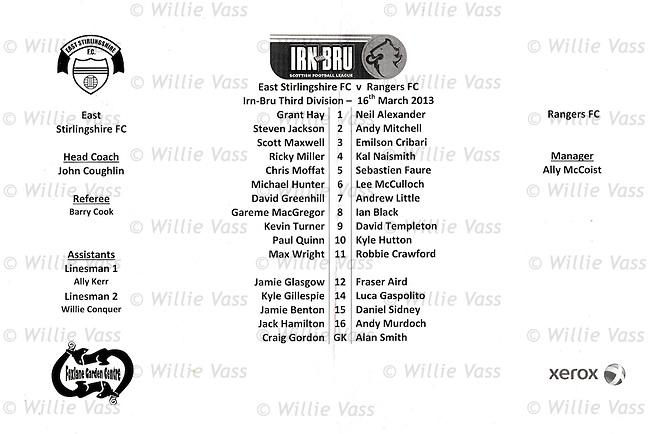 Official teamsheet for East Stirling v Rangers on Saturday 27th April 2013