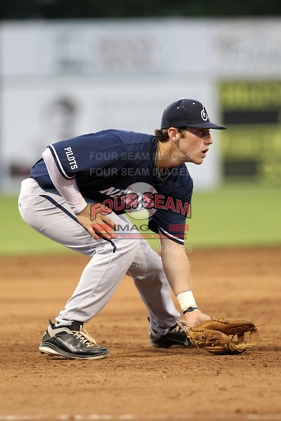 Newark Pilots, of the Perfect Game Collegiate Baseball League, third baseman Tyler McDonald #22 during an exhibition game against the Batavia Muckdogs at Dwyer Stadium on June 15, 2012 in Batavia, New York.  Batavia defeated Newark 8-0.  (Mike Janes/Four Seam Images)
