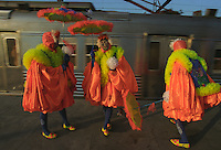 "Street carnival, Clovis or bate bola at Rio de Janeiro train station, Brazil - Clovis is a fantasy carnival characteristic of suburban areas of Rio de Janeiro. The tradition was brought by the Portuguese, and it is assumed that the name has derived from the English ""clown"", and that would have been created in the early twentieth century, from the popular interpretation of the term by which scholars have termed the revelers."