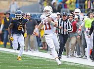 Morgantown, WV - November 18, 2017: Texas Longhorns quarterback Sam Ehlinger (11) runs the ball during game between Texas and WVU at  Mountaineer Field at Milan Puskar Stadium in Morgantown, WV.  (Photo by Elliott Brown/Media Images International)