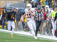Morgantown, WV - November 18, 2017: Texas Longhorns quarterback Sam Ehlinger (11) runs the ball during game between Texas and WVU at  Mountaineer Field at Milan Puskar Stadium in Morgantown, WV.  (Photo by Elliott Brown/Media Images International)