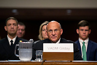 Vice Admiral Michael M. Gilday, United States Navy, testifies before the U.S. Senate Committee on Armed Services during his confirmation hearing to be Admiral and Chief of Naval Operations at the Department of Defense on Capitol Hill in Washington D.C., U.S. on July 31, 2019. <br /> <br /> Credit: Stefani Reynolds / CNP/AdMedia