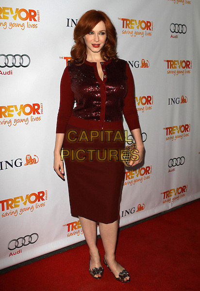 Christina Hendricks.Trevor Live at The Hollywood Palladium in Hollywood, California, USA..December 4th, 2011.full length maroon burgundy skirt clutch bag red sequins sequined cardigan.CAP/ADM/KB.©Kevan Brooks/AdMedia/Capital Pictures.