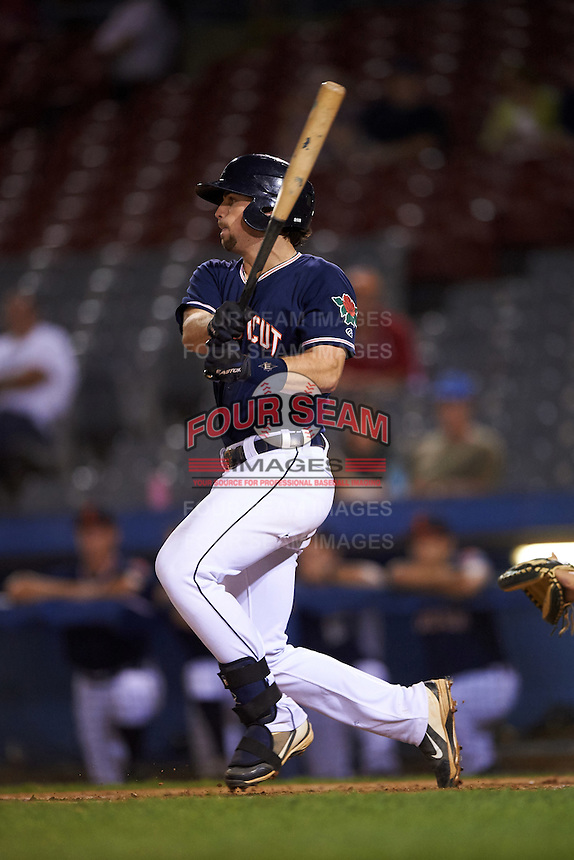 Connecticut Tigers first baseman Will Allen (46) at bat during the second game of a doubleheader against the Brooklyn Cyclones on September 2, 2015 at Senator Thomas J. Dodd Memorial Stadium in Norwich, Connecticut.  Connecticut defeated Brooklyn 2-1.  (Mike Janes/Four Seam Images)