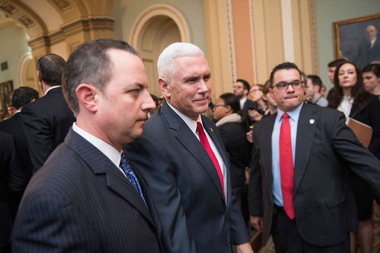 UNITED STATES - JANUARY 04: Vice President-elect Mike Pence, center, and Reince Priebus, incoming White House chief of staff, leave a news conference with Republican senators after the senate luncheons in the Capitol, January 4, 2017. (Photo By Tom Williams/CQ Roll Call)