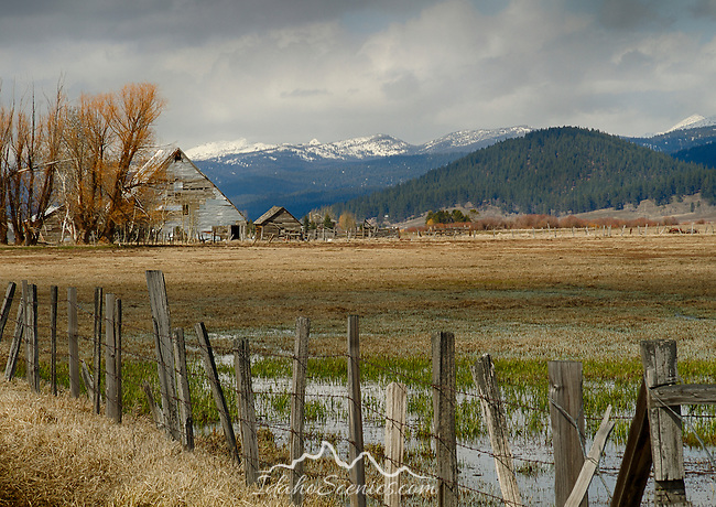 Idaho, North Central, Donnelly. Barn and fence near Donnelly in spring.