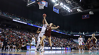 GREENSBORO, NC - MARCH 07: Georgia Pineau #5 of Boston College and Jada Boyd #5 of North Carolina State University challenge for a rebound during a game between Boston College and NC State at Greensboro Coliseum on March 07, 2020 in Greensboro, North Carolina.