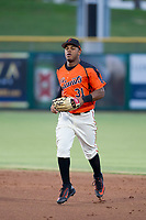 AZL Giants center fielder Heliot Ramos (31) jogs off the field between innings of the game against the AZL Padres 2 on July 13, 2017 at Scottsdale Stadium in Scottsdale, Arizona. AZL Giants defeated the AZL Padres 2 11-3. (Zachary Lucy/Four Seam Images)