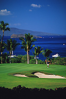 The beautiful 8th hole at Wailea's Gold Course at the Wailea Resort on the south shore of the island of Maui
