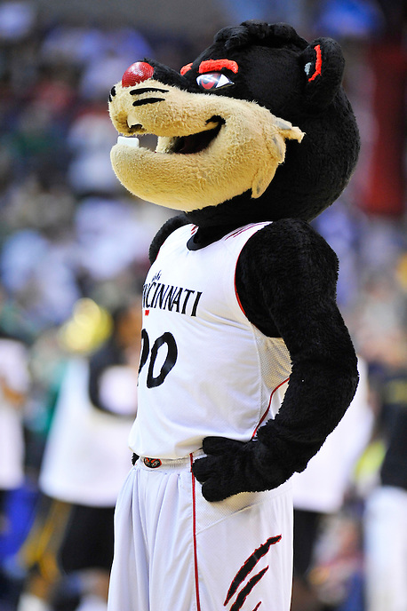 The Bearcats' mascot fires up the crowd prior to tip-off against the Missouri Tigers during the NCAA tournament at the Verizon Center in Washington, D.C. on Thursday, March 17, 2011. Alan P. Santos/DC Sports Box