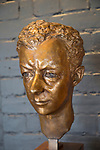Bronze head sculpture of Benjamin Britten by Georg Ehrlich 1951, Snape Maltings, Suffolk, England, Uk