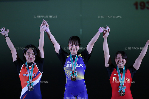 (L-R) <br /> Ayana Sadoyama , <br /> Kanae Yagi, <br /> Mizuki Yanagida, <br /> MAY 21, 2016 - Weightlifting : <br /> All Japan Weightlifting Championship 2016 Women's -53kg  Award Ceremony at Yamanashi Municipal Gymnasium, Yamanashi, Japan. <br /> (Photo by AFLO SPORT)