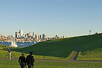 Seattle, Skyline, Space Needle, Gas Works Park, summer, picnic, couples, Washington State, Pacific Northwest, USA,.