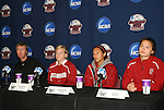 05 December 2009: From left: head coach Paul Ratcliffe, Alicia Jenkins, Christen Press, and Ali Riley. The Stanford University Cardinal held a press conference at the Aggie Soccer Complex in College Station, Texas on the day before playing the University of North Carolina Tar Heels in the NCAA Division I Women's College Cup championship game.