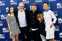 Director Brady Corbet, center, and actors, from left, Stacy Martin, Liam Cunningham, Tom Sweet and Berenice Bejo attend the photocall for the movie 'The Childhood Of A Leader' during the 72nd Venice Film Festival at the Palazzo Del Cinema in Venice, Italy, September 5. <br /> UPDATE IMAGES PRESS/Stephen Richie