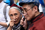 Rebiya Kadeer, JUNE 29, 2019 - Rebiya Kadeer, a political activist for China Uyghur ethnic minority, speaks to another activist during a demonstration against the Chinese government's treatment of the ethnic group at a demonstration during the G20 Summit in Osaka, Japan. (Photo by Ben Weller/AFLO) (JAPAN) [UHU]
