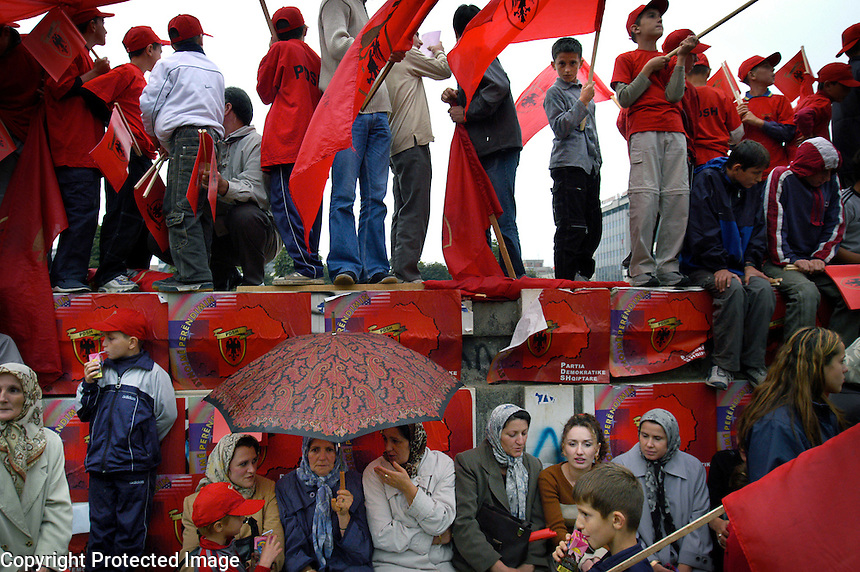 MACEDONIA. Tetovo. 13th September 2002.. Albanian women at a rally for the Democratic Party of Albanians in Tetovo..