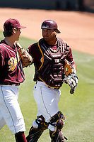 Carlos Ramirez  - 2009 Arizona State Sun Devils .Photo by:  Bill Mitchell/Four Seam Images.Ramirez talks with pitcher Seth Blair as they leave the field in a game against the Stanford Cardinal at Packard Stadium, Tempe, AZ - 04/19/2009