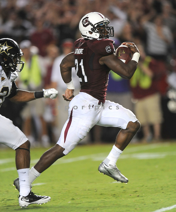 MARCUS LATTIMORE, of the South Carolina Gamecocks, in action during South Carolina's game against Vanderbilt on September 24, 2011 at Williams-Brice Stadium in Columbia, SC. South Carolina beat Vanderbilt 21-3.