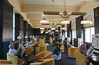 Germany, Bavaria, Lower Franconia, Bad Kissingen: reading room at Wandelhalle | Deutschland, Bayern, Unterfranken, Bad Kissingen: Leseraum in der Wandelhalle
