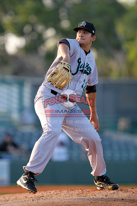 April 21, 2010 Pitcher Brad Hand of the Jupiter Hammerheads, Florida State League Class-A affiliate of the Florida Marlins, delivers a pitch during a game at McKenhnie Field in Bradenton Fl. Photo by: Mark LoMoglio/Four Seam Images
