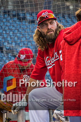 6 October 2017: Washington Nationals outfielder Jayson Werth awaits his turn in the batting cage prior to Game 1 of the NLDS against the Chicago Cubs at Nationals Park in Washington, DC. The Cubs shut out the Nationals 3-0 to take a 1-0 lead in their best of five Postseason series. Mandatory Credit: Ed Wolfstein Photo *** RAW (NEF) Image File Available ***