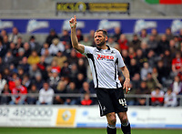 ATTENTION SPORTS PICTURE DESK<br /> Pictured: Shefki Kuqi of Swansea protesting to the linesman for not being offside<br /> Re: Coca Cola Championship, Swansea City Football Club v Scunthorpe United at the Liberty Stadium, Swansea, south Wales. Saturday 05 April 2010