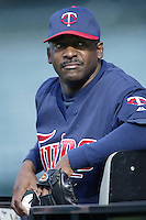 Mike Jackson of the Minnesota Twins before a 2002 MLB season game against the Los Angeles Angels at Angel Stadium, in Anaheim, California. (Larry Goren/Four Seam Images)
