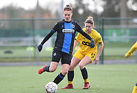 20200329 – BRUGGE, BELGIUM : Charlotte Laridon pictured with Ellen Charlier during a women soccer game between Dames Club Brugge and Standard Femina de Liege on the 17 th matchday of the Belgian Superleague season 2019-2020 , the Belgian women's football  top division , saturday 29 th February 2020 at the Jan Breydelstadium – terrain 4  in Brugge  , Belgium  .  PHOTO SPORTPIX.BE | DAVID CATRY