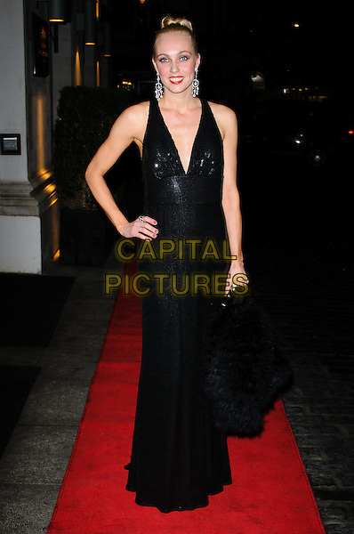 Camilla Dallerup.Daily Mail Inspirational Woman of The Year Awards at the Marriott Grosvenor Square Hotel, London, England..January 18th, 2012.full length dress black sleeveless maxi hand on hip.CAP/CJ.©Chris Joseph/Capital Pictures.
