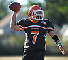 East Rockaway quarterback No. 7 Michael Del Gais throws a pass for a completion during the fourth quarter of a Nassau County Conference IV varsity football game against West Hempstead at East Rockaway High School on Saturday, October 10, 2015. West Hempstead won by a score of 28-14.<br /> <br /> James Escher