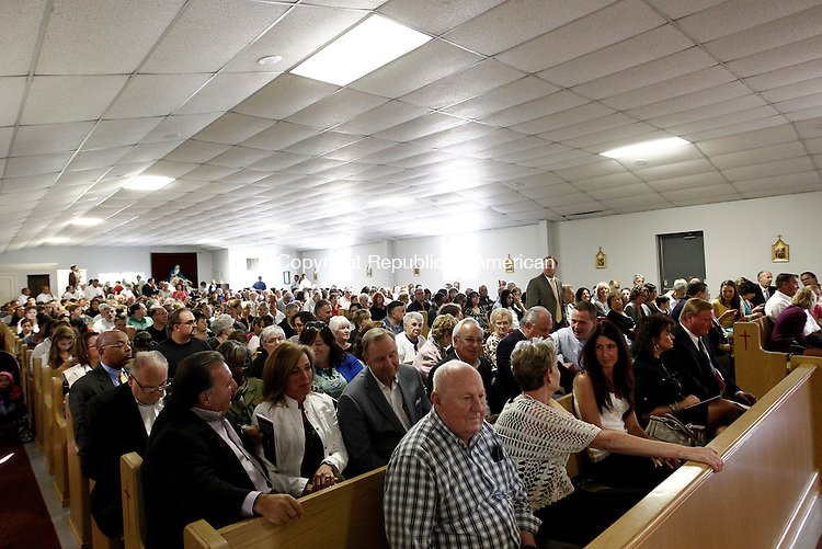Waterbury, CT- 14 September 2014-091414CM10-  A throng of people pack a chapel at Holy Land in Waterbury on Sunday.  The site was reopened to the public and was celebrated with a mass inside the chapel.  Christopher Massa Republican-American