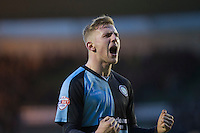 Jason McCarthy of Wycombe Wanderers celebrates at full time of the Sky Bet League 2 match between Plymouth Argyle and Wycombe Wanderers at Home Park, Plymouth, England on 30 January 2016. Photo by Mark  Hawkins / PRiME Media Images.