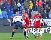 Middlesbrough's Ben Gibson and Bolton Wanderers' Gary Madine <br /> <br /> Photographer Rachel Holborn/CameraSport<br /> <br /> The EFL Sky Bet Championship - Bolton Wanderers v Middlesbrough - Saturday 9th September 2017 - Macron Stadium - Bolton<br /> <br /> World Copyright &copy; 2017 CameraSport. All rights reserved. 43 Linden Ave. Countesthorpe. Leicester. England. LE8 5PG - Tel: +44 (0) 116 277 4147 - admin@camerasport.com - www.camerasport.com