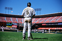 SAN FRANCISCO, CA - Jeff Bagwell of the Houston Astros in the on deck circle during a game against the San Francisco Giants at Candlestick Park in San Francisco, California in 1995. Photo by Brad Mangin