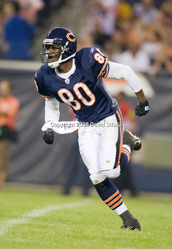 Wide receiver Brandon Lloyd #80 of the Chicago Bears celebrates a special teams play against the San Francisco 49ers at Soldier Field on August 21, 2008 in Chicago, Illinois. The 49ers defeated the Bears 37-30. (AP Photo/David Stluka)