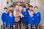 The confirmation class from Killocrim National School donated part of their money to the Listowel branch of the Irish Cancer Society on Friday morning. Pictured were: Cian Horgan, Aaron Broderick, Kieran O'Donoghue, Catherine O'Driscoll (principal), Neilie Keane-Stack (teacher), Noreen Queally (ICS Listowel branch), Shane Gleeson, Kian Dowling, Mary O'Connor, Nikolai O'Callaghan and Philip Healy.