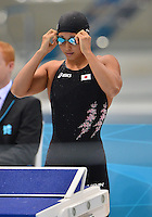 August 02, 2012..Suzuki Satomi prepares to compete in Women's 200m Breaststroke Final at the Aquatics Center on day six of 2012 Olympic Games in London, United Kingdom.