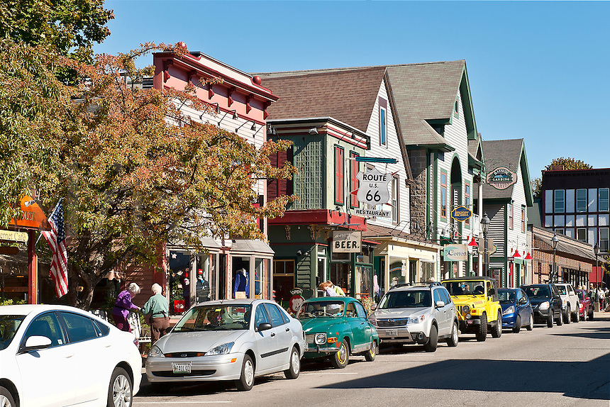 Cottage Street shops, Bar Harbor, Mount Desert Island, Maine, ME, USA