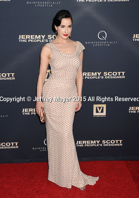 HOLLYWOOD, CA - SEPTEMBER 08: Dancer/model Dita Von Teese arrives at the Premiere Of The Vladar Company's 'Jeremy Scott: The People's Designer' at TCL Chinese 6 Theatres on September 8, 2015 in Hollywood, California.