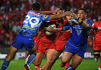 Herman Ese'ese is tackled during the 2017 Rugby League World Cup match between Toa Samoa and Mate Ma'a Tonga at FMG Stadium in Hamilton, New Zealand on Saturday, 4 November 2017. Photo: Dave Lintott / lintottphoto.co.nz