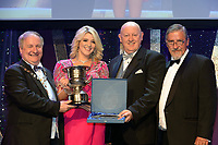 Natalie Kelly, Tullamore Musical Society, County Offaly who were 3rd Overall Winners in the Gilbert Section for the show 'Sweeney Todd' receiving the trophy from on left, Colm Moules, President, AIMS and Seamus Power, Vice-President at the Association of Irish Musical Societies annual awards in the INEC, KIllarney at the weekend. Also in photo is AIMS adjudicator Peter Kennedy.<br /> Photo: Don MacMonagle -macmonagle.com<br /> <br /> <br /> <br /> repro free photo from AIMS<br /> Further Information:<br /> Kate Furlong AIMS PRO kate.furlong84@gmail.com